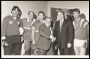 Image of : Photograph - Sid McGuinness, Supporters' Club Chairman with Neville Southall, Terry Darracott, Colin Harvey, Howard Kendall and Kevin Ratcliffe