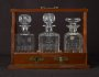 Image of : Decanters - 3 decanters in a wooden box